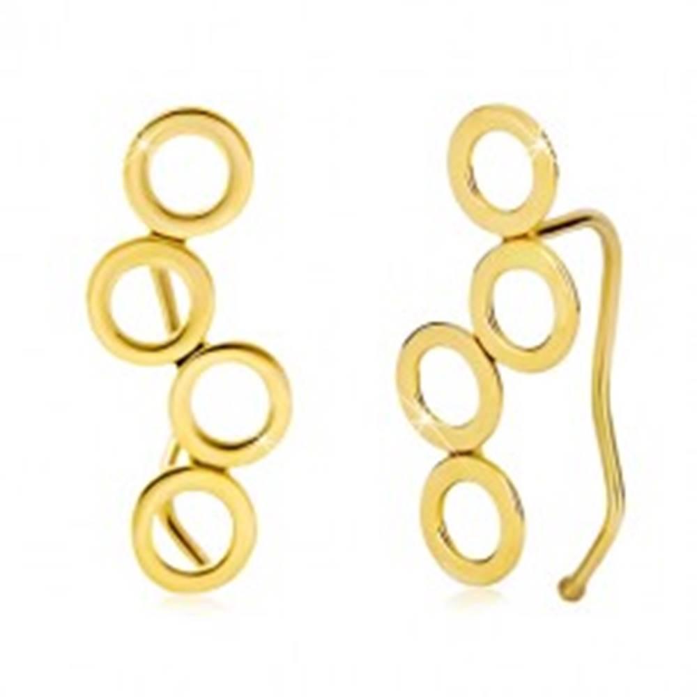 Šperky eshop Náušnice v žltom 14K zlate, štyri lesklé spojené kruhy, háčiky