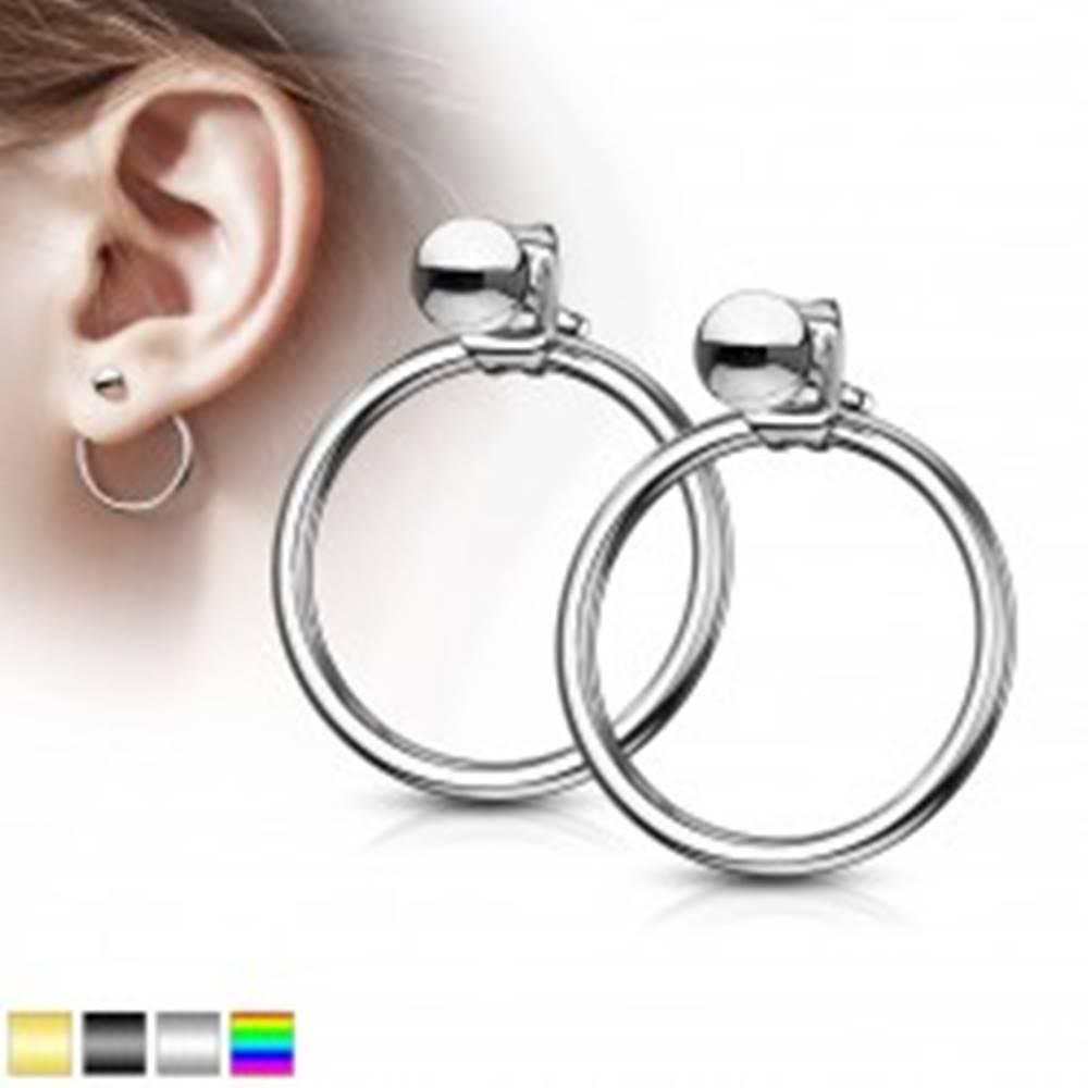 Šperky eshop Náušnice z chirurgickej ocele - gulička s krúžkom, puzetové zapínanie - Farba: Čierna
