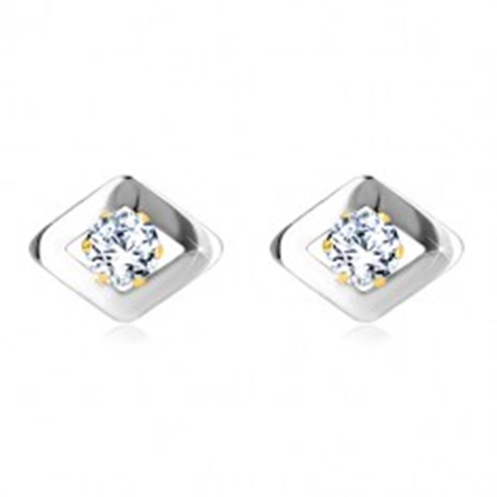 Šperky eshop Náušnice z kombinovaného zlata 585 - kosoštvorec v bielom zlate a zirkón