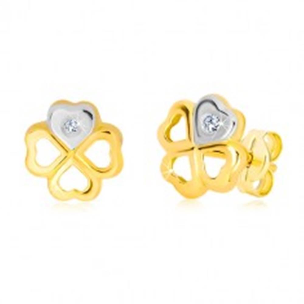 Šperky eshop Náušnice zo 14K zlata - kontúra symbolu šťastia, srdiečko so zirkónom