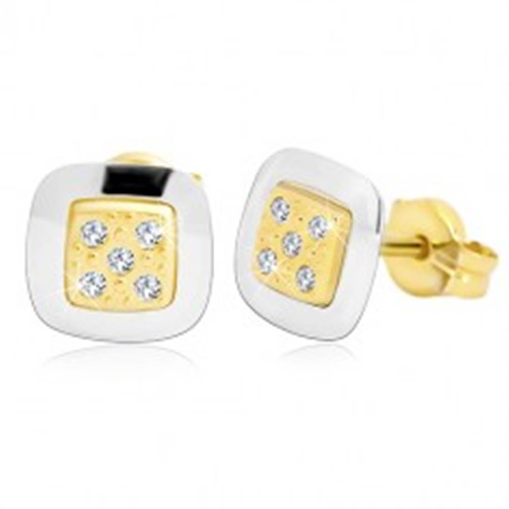 Šperky eshop Náušnice zo 14K zlata - štvorec s čírymi zirkónmi v strede, žlté a biele zlato