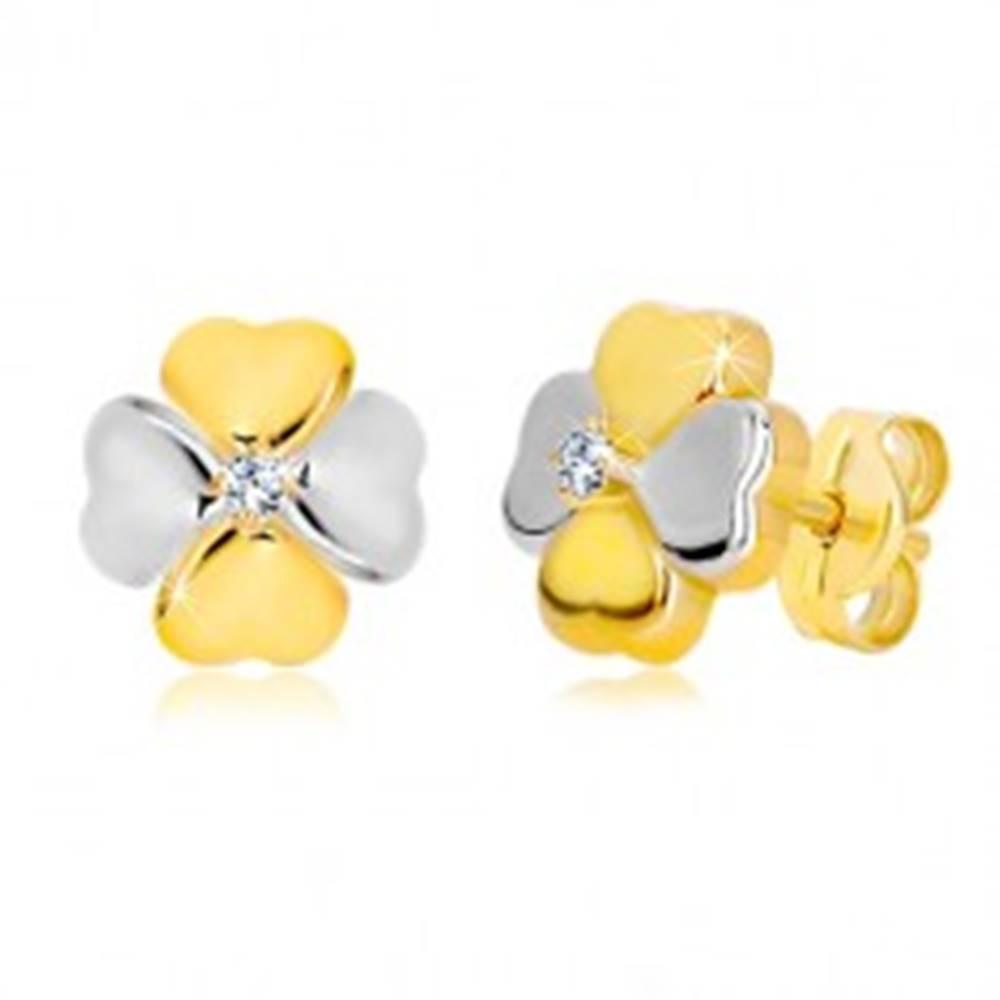 Šperky eshop Náušnice zo zlata 585 - dvojfarebný štvorlístok pre šťastie so zirkónom