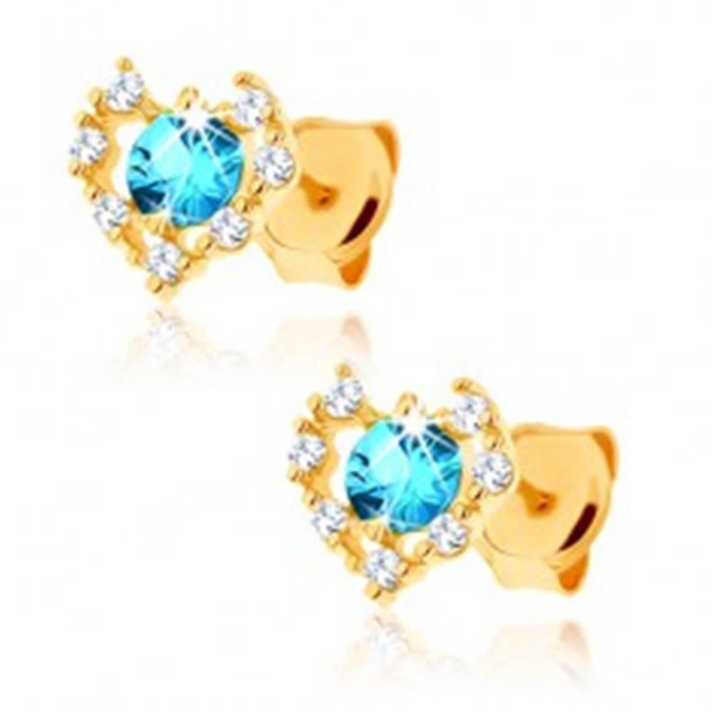 Šperky eshop Náušnice zo žltého 14K zlata - číry zirkónový obrys srdca, modrý topás