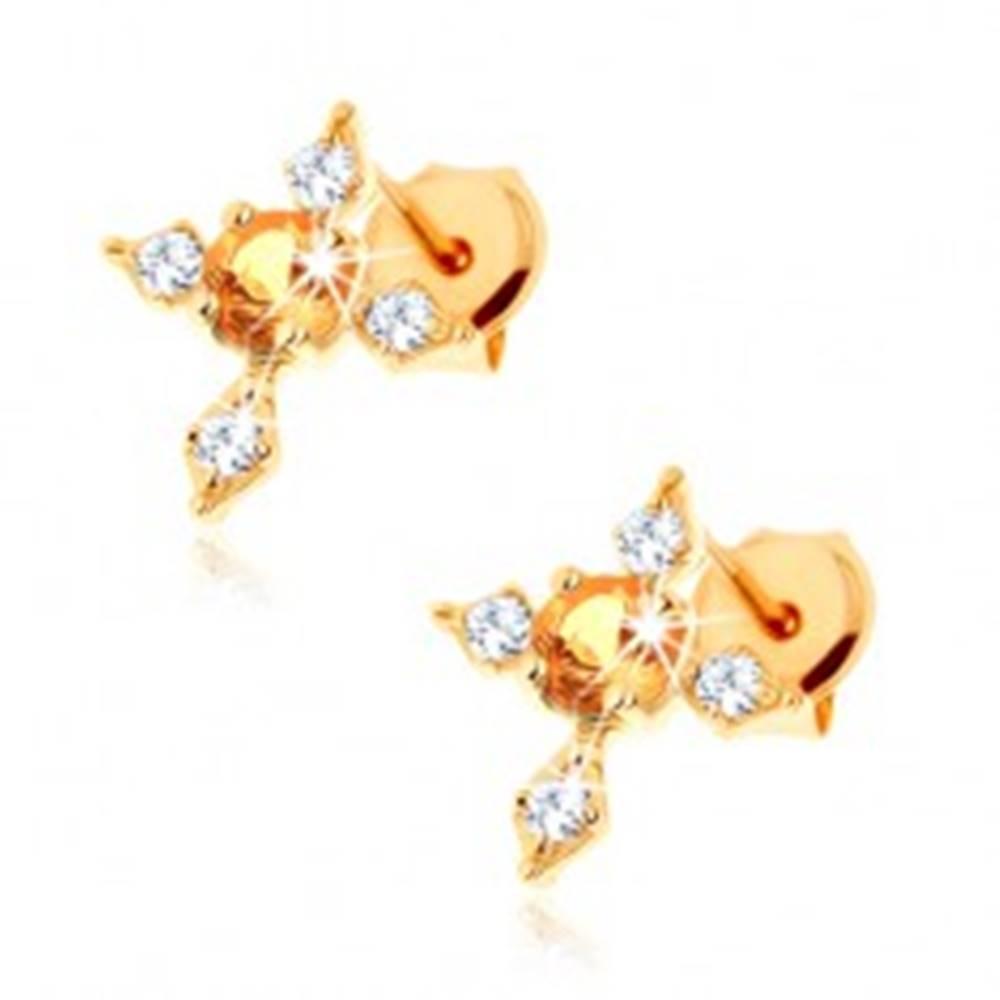 Šperky eshop Náušnice zo žltého 14K zlata - kríž s čírymi zirkónovými ramenami, žltý citrín