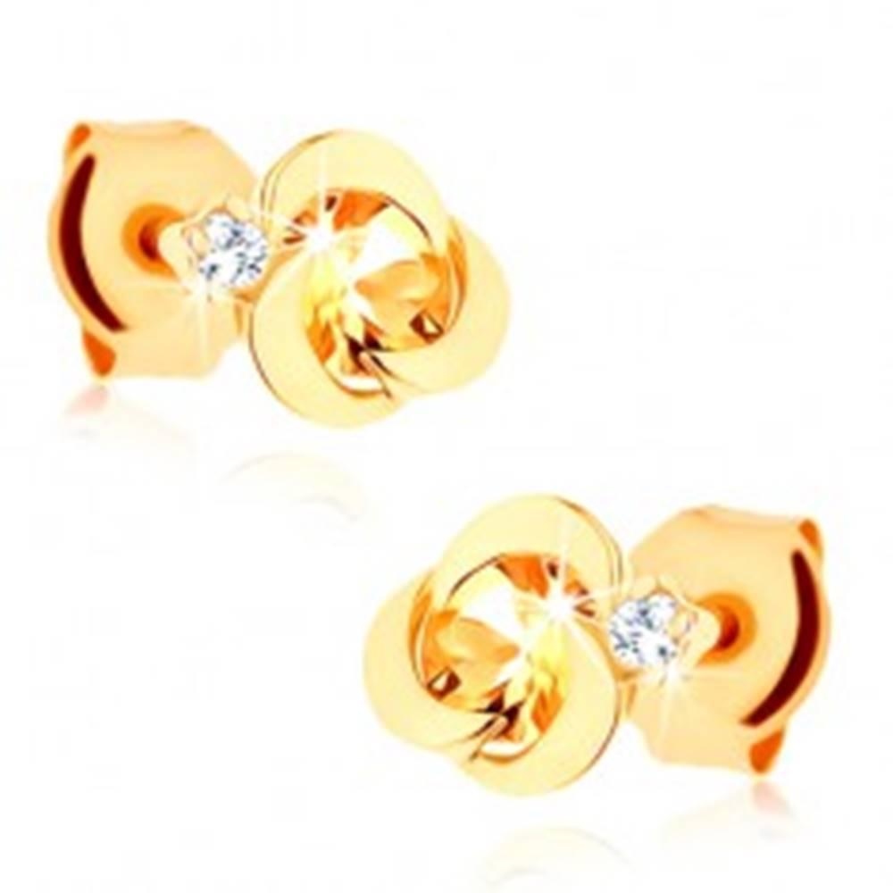 Šperky eshop Náušnice zo žltého 14K zlata - kvet z lesklých oblúčikov, žltý citrín