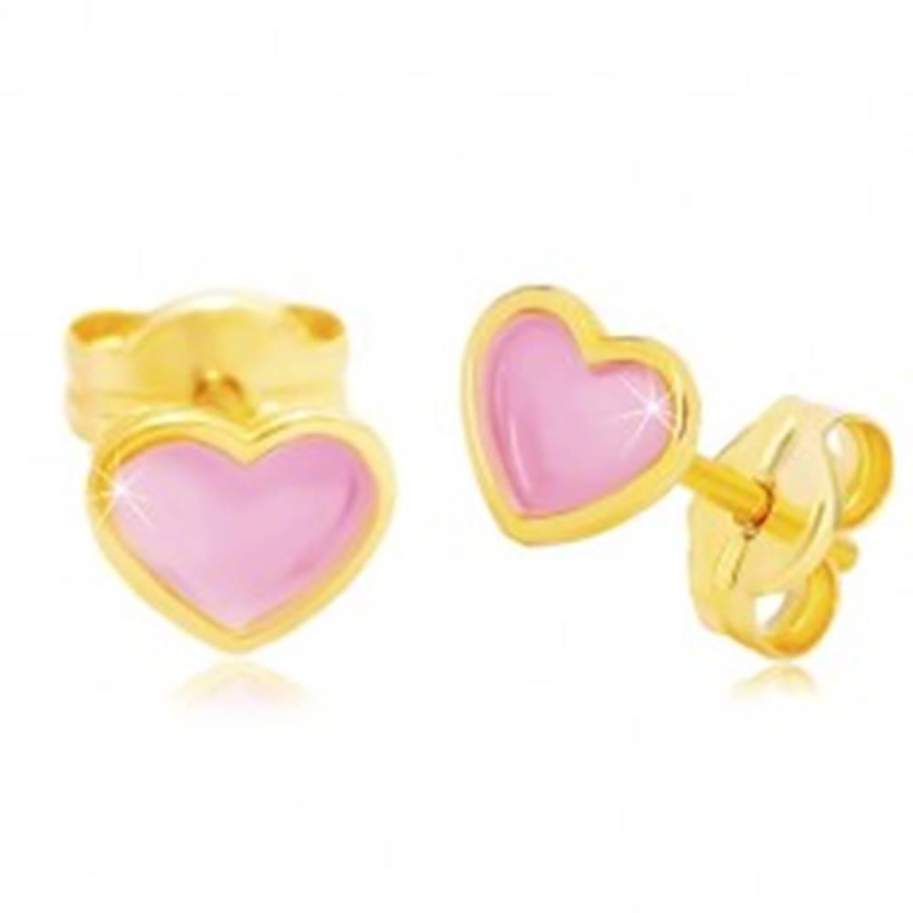 Šperky eshop Náušnice zo žltého 14K zlata, srdiečko s ružovou glazúrou, puzetky