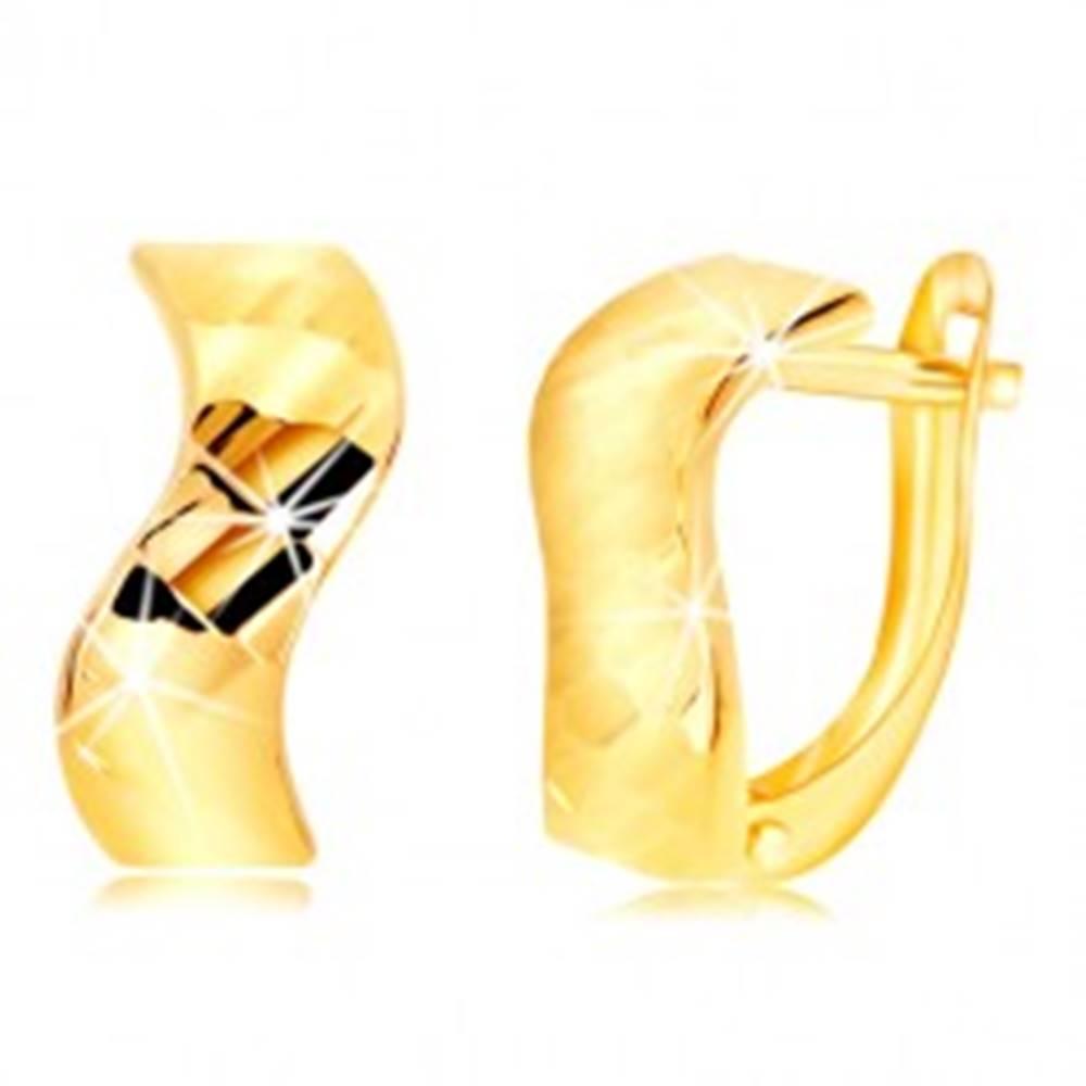 Šperky eshop Náušnice zo žltého zlata 585 - zvlnený pás, lesklé vybrúsené plôšky