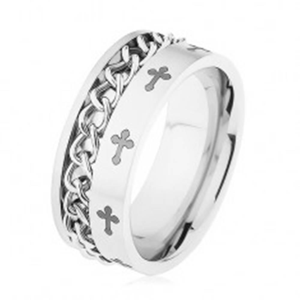 Šperky eshop Obrúčka z ocele 316L striebornej farby, retiazka, ľaliové kríže - Veľkosť: 57 mm