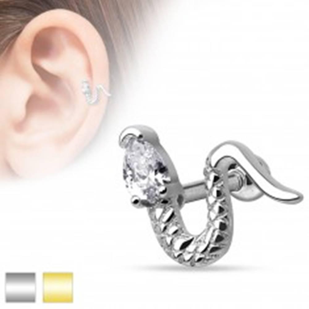 Šperky eshop Piercing do ucha z chirurgickej ocele - zvlnený had s trojuholníkovým zirkónom - Farba piercing: Strieborná