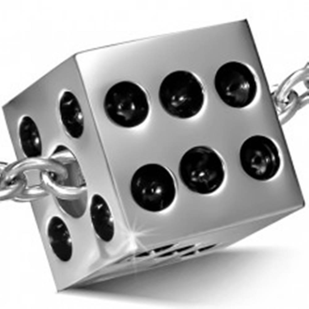 Šperky eshop Prívesok z chirurgickej ocele striebornej farby - lesklá hracia kocka