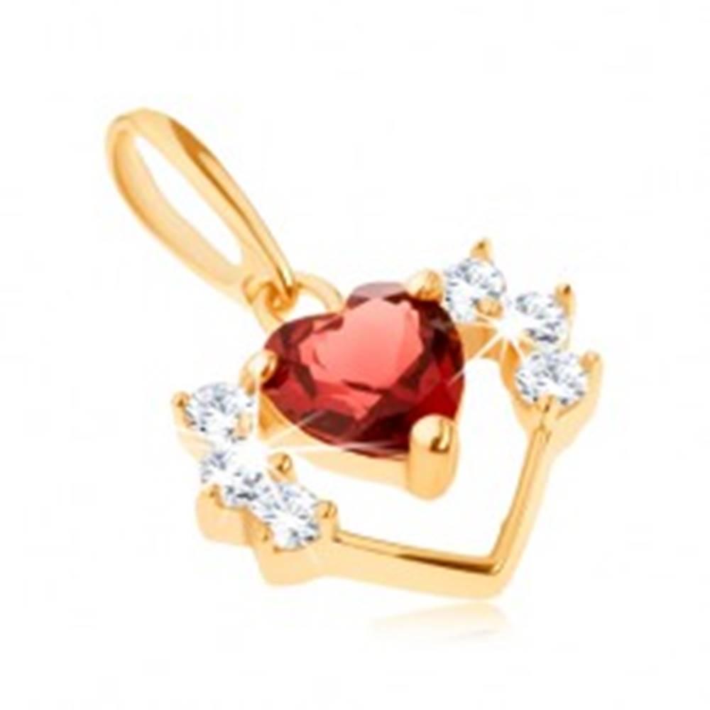 Šperky eshop Prívesok zo žltého 14K zlata - tenký obrys srdca so zirkónmi, červený granát