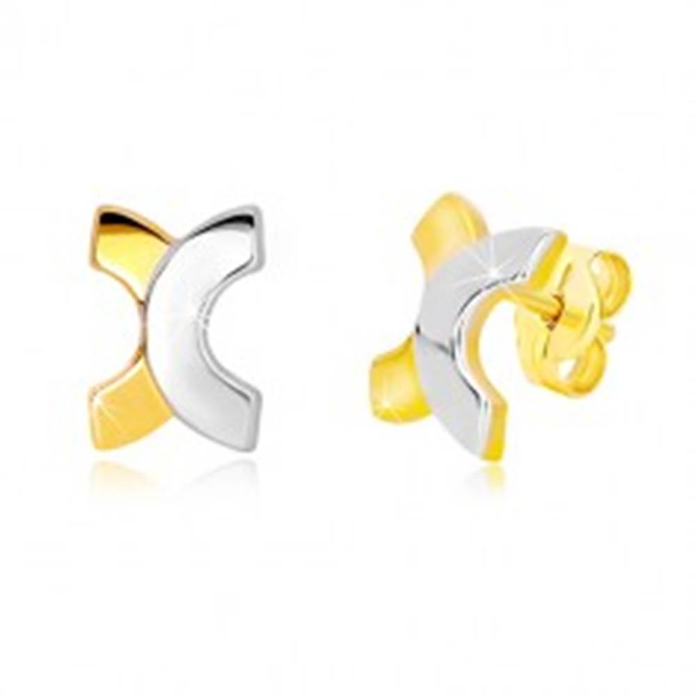 Šperky eshop Puzetové náušnice zo 14K kombinovaného zlata - zaoblené písmeno X