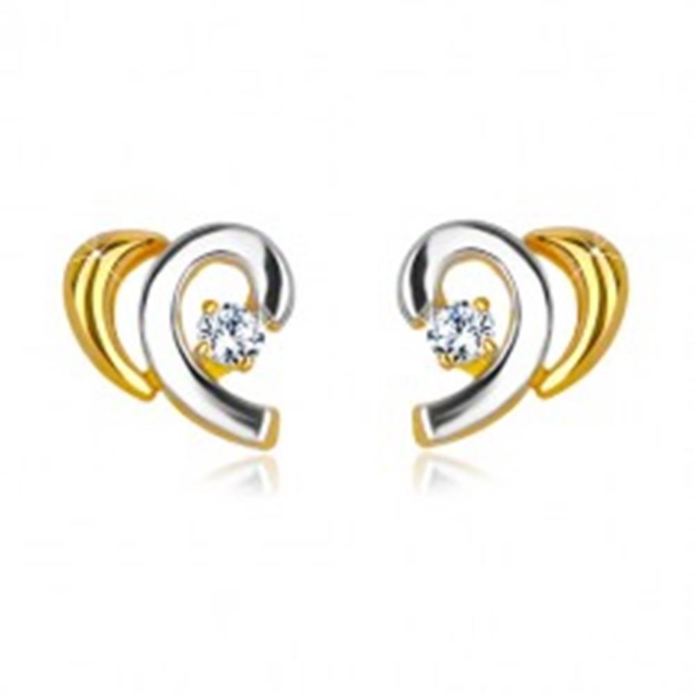 Šperky eshop Náušnice z kombinovaného 14K zlata - rozpolené srdiečko so zirkónom