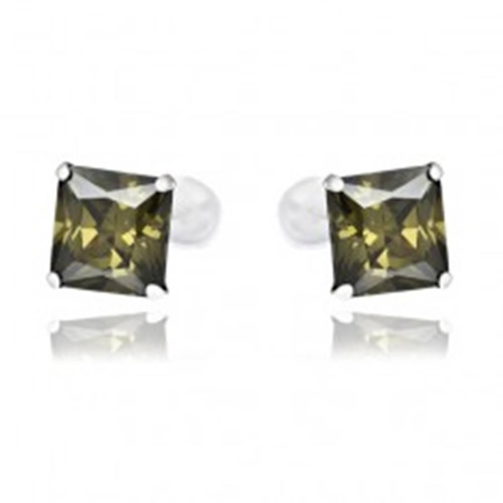 Šperky eshop Puzetové náušnice zo striebra 925 - tmavozelené zirkóny v tvare štvorca, 7 mm