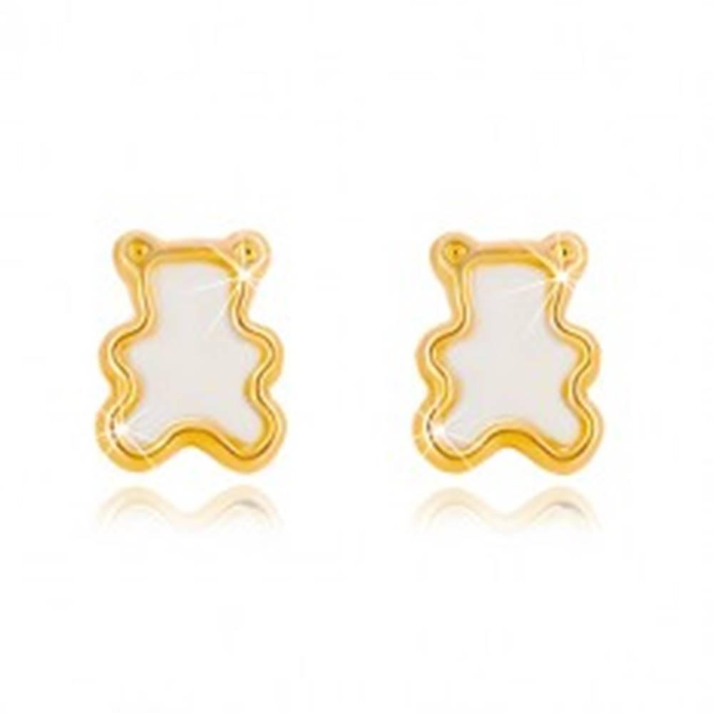 Šperky eshop Puzetové náušnice zo žltého 14K zlata s prírodnou perleťou - medvedík