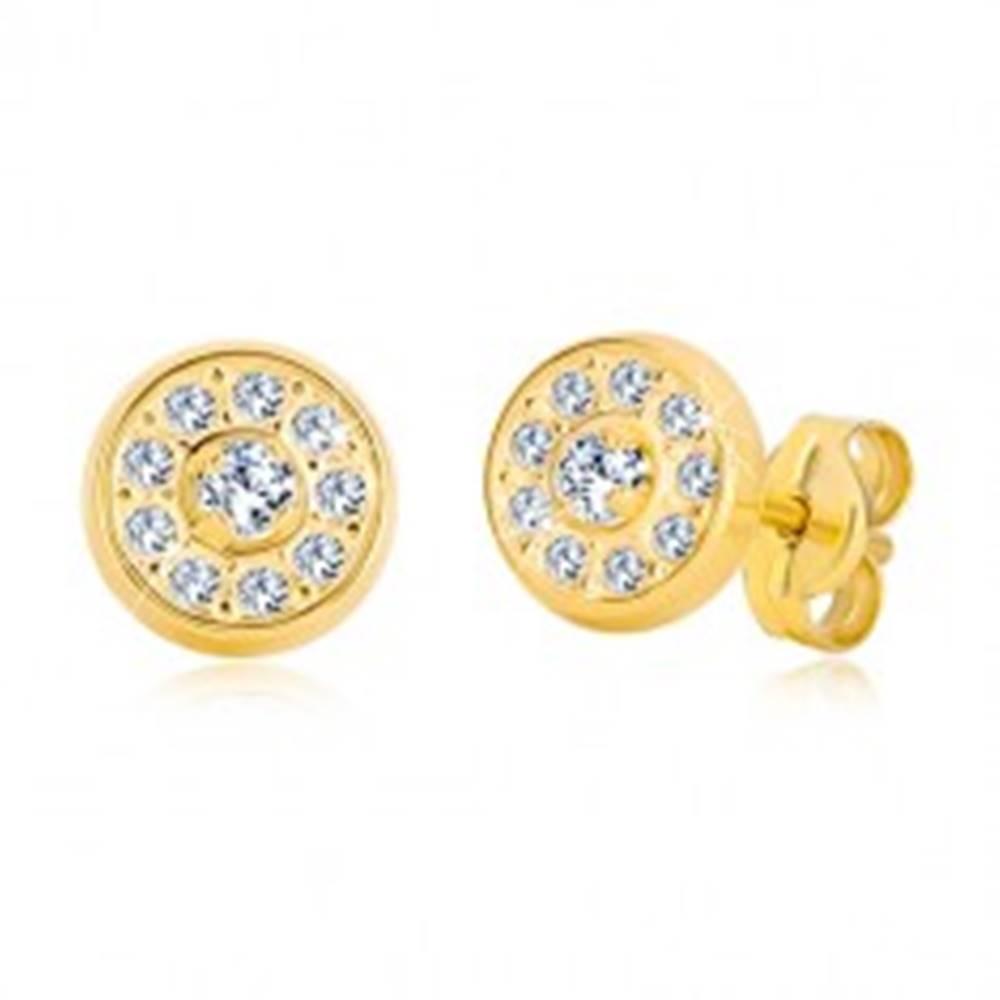 Šperky eshop Puzetové náušnice zo žltého zlata 585 - krúžok vykladaný zirkónmi