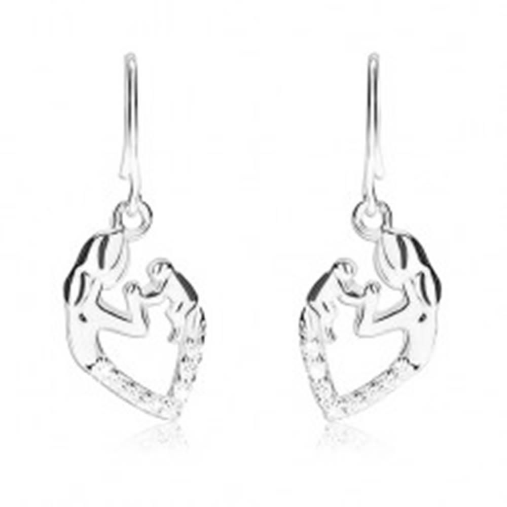 Šperky eshop Strieborné 925 náušnice - obrys srdca so siluetou matky a dieťatka