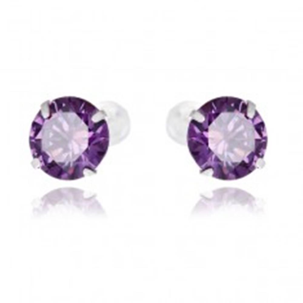 Šperky eshop Strieborné náušnice 925 - okrúhle fialové zirkóny, 7 mm