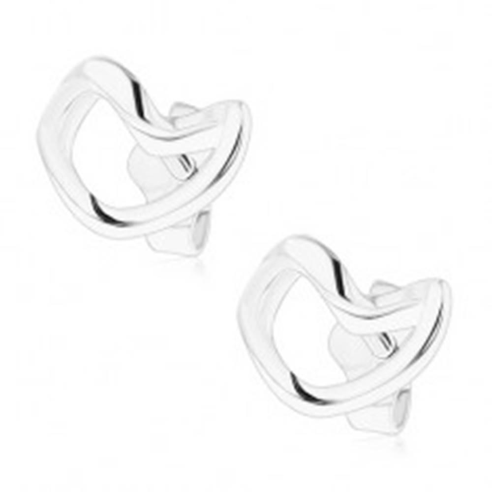 Šperky eshop Strieborné náušnice 925, zvlnená línia srdiečka, hladký povrch, vysoký lesk