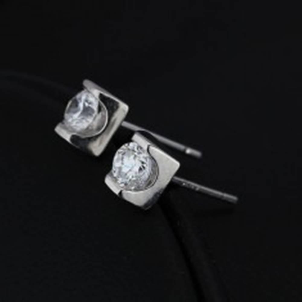 Šperky eshop Strieborné puzetové náušnice 925 - číry zirkón v lesklej tehličke