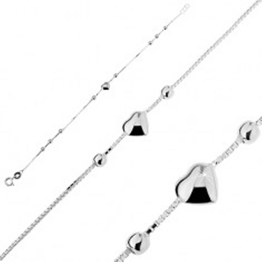 Šperky eshop Strieborný náramok 925 - plné srdiečko s guličkami
