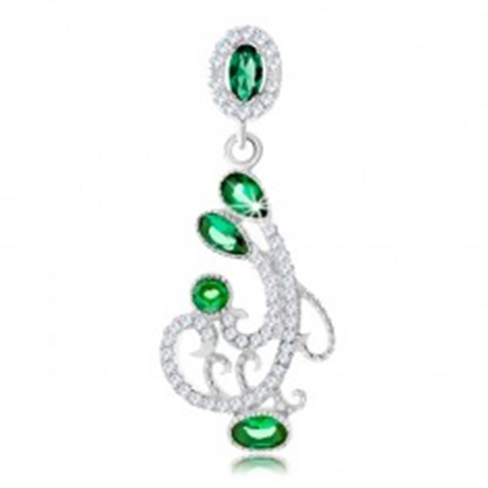 Šperky eshop Strieborný prívesok 925, ornament zdobený čírymi a zelenými zirkónmi