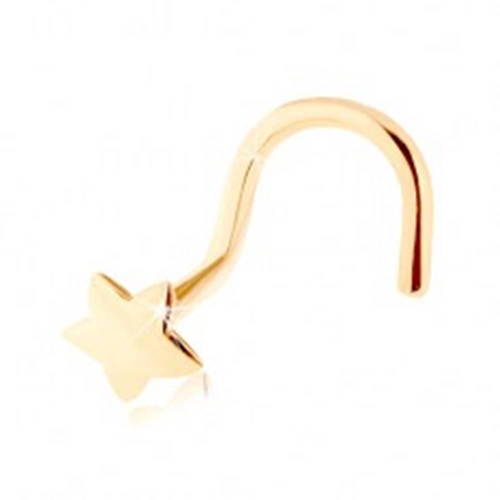 Šperky eshop Zahnutý piercing do nosa zo žltého 14K zlata - hladká päťcípa hviezdička