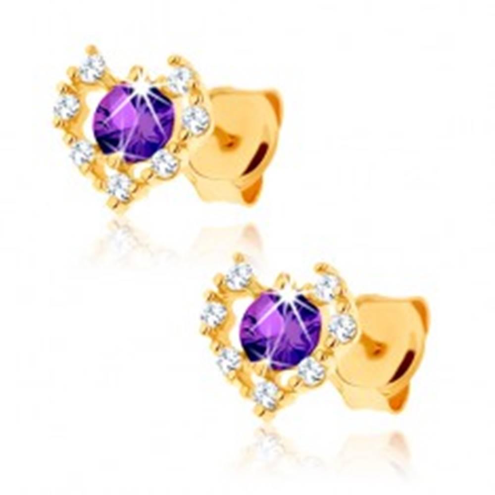 Šperky eshop Zlaté náušnice 585 - číry zirkónový obrys srdca, fialový ametyst