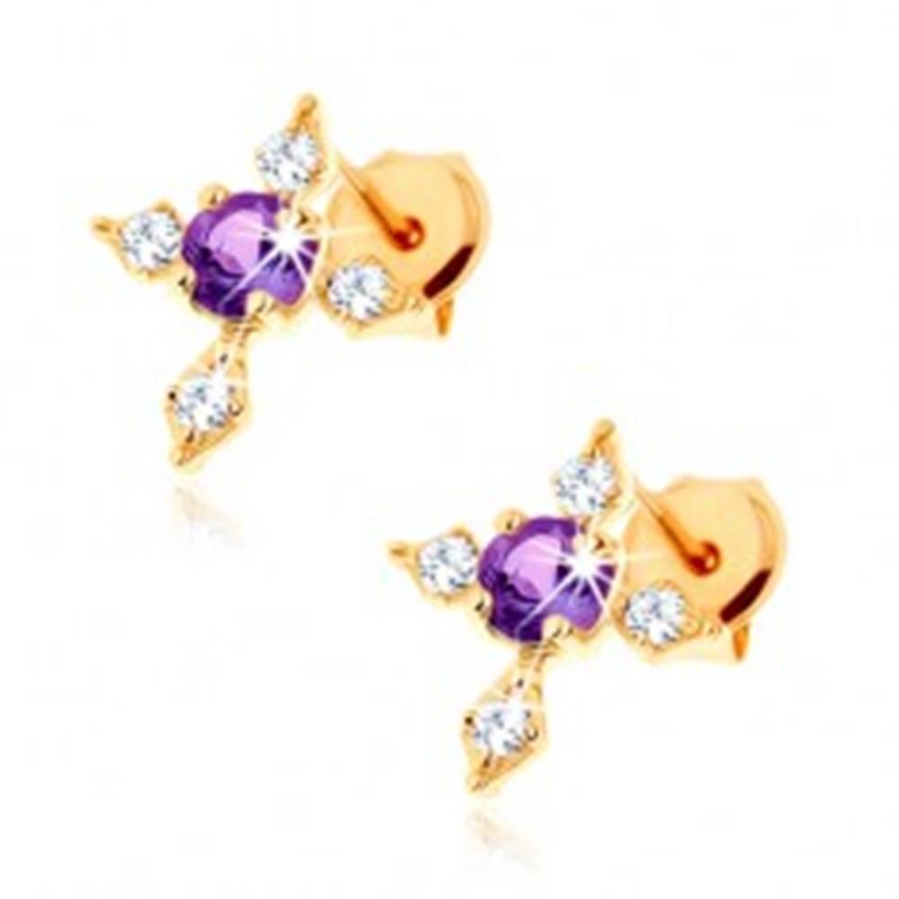 Šperky eshop Zlaté náušnice 585 - fialový ametyst, kríž so zirkónovými ramenami čírej farby