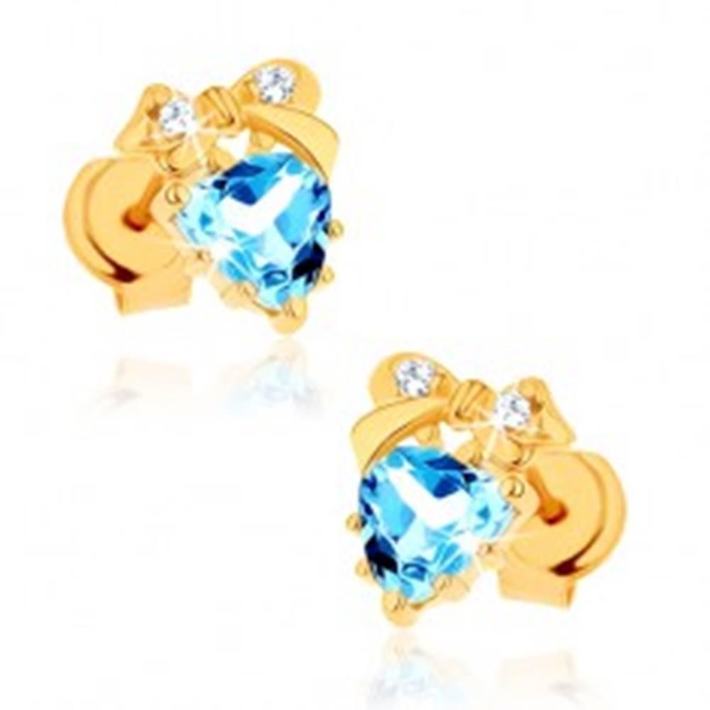 Šperky eshop Zlaté náušnice 585 - modré topásové srdiečko s mašličkou