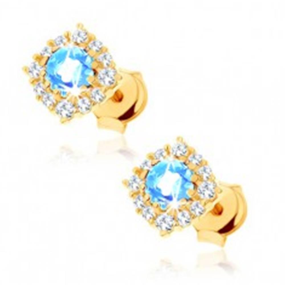 Šperky eshop Zlaté náušnice 585 - štvorcový zirkónový obrys, okrúhly modrý topás