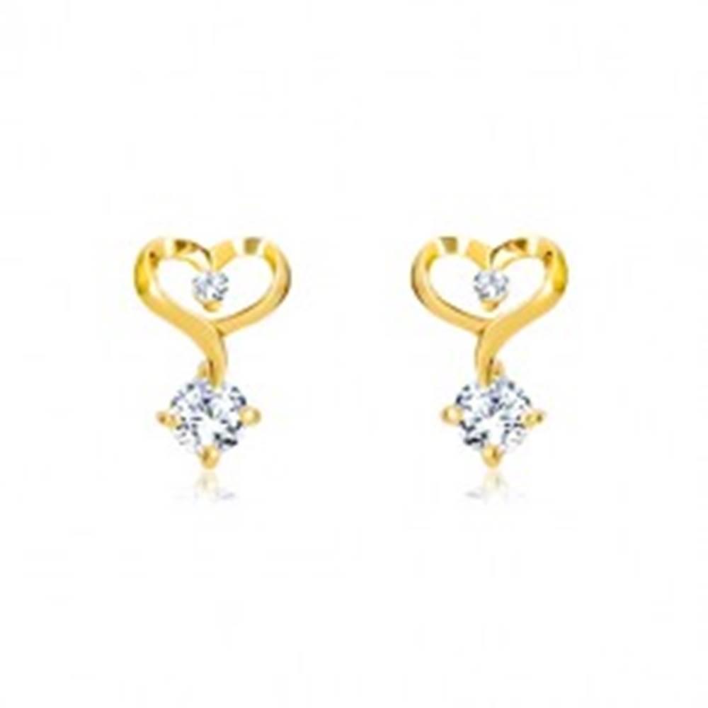 Šperky eshop Briliantové náušnice v 14K žltom zlate - kontúra srdca s diamantmi