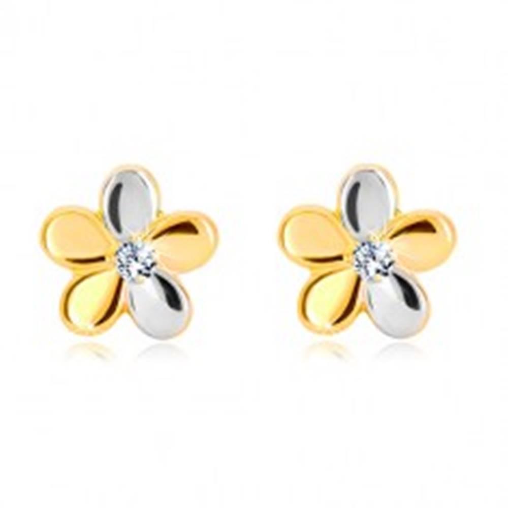 Šperky eshop Briliantové náušnice zo zlata 585 - kvet s piatimi lupeňmi a diamantom