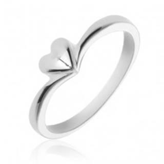 Jednoduchý strieborný prsteň 925 so srdiečkom - Veľkosť: 49 mm