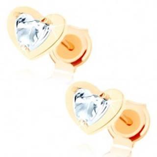 Náušnice v žltom 14K zlate - číre zirkónové srdiečko v lesklom obryse srdca