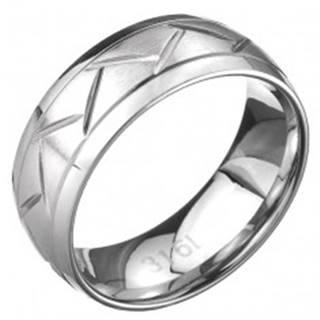 Oceľový prsteň - dve línie a cik-cak vzor, povrch striebornej farby - Veľkosť: 57 mm