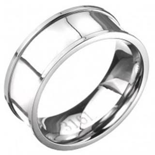 Oceľový prsteň - obrúčka striebornej farby s vyvýšeným lemom - Veľkosť: 57 mm