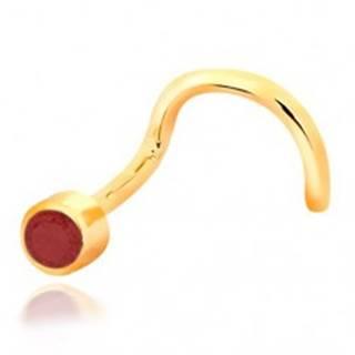 Piercing do nosa zo žltého 14K zlata - zahnutý tvar, červený rubín v objímke