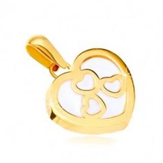 Prívesok v žltom zlate 585 - lesklý obrys srdca s perleťou, tri srdiečka