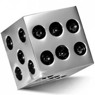 Prívesok z chirurgickej ocele - lesklá kocka striebornej farby, čierne bodky