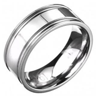 Prsteň z ocele - obrúčka striebornej farby s dvojitým vrúbkovaním  - Veľkosť: 57 mm