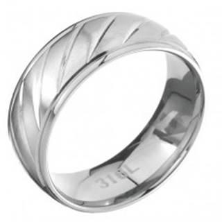 Prsteň z ocele s lesklým lemom a matným vrúbkovaným stredom - Veľkosť: 57 mm