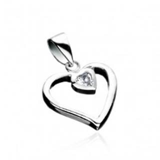 Strieborný prívesok 925 - línia srdca so zirkónovým srdcom