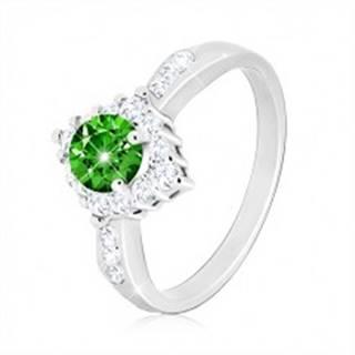 Strieborný prsteň 925 - číry zirkónový kosoštvorec, okrúhly zelený zirkón - Veľkosť: 53 mm