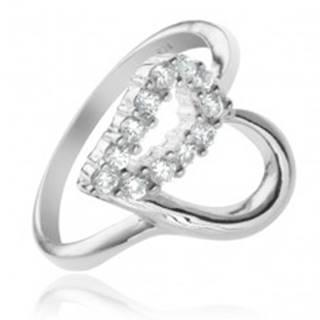 Strieborný prsteň 925 - kontúra srdca, číra zirkónová polovica - Veľkosť: 49 mm