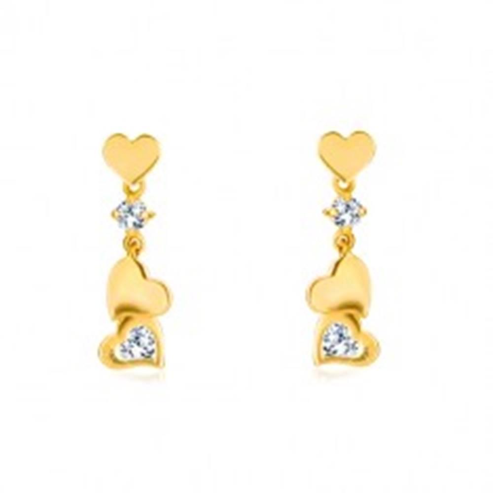 Šperky eshop Diamantové náušnice zo zlata 585 - drobné symetrické srdiečko s príveskom