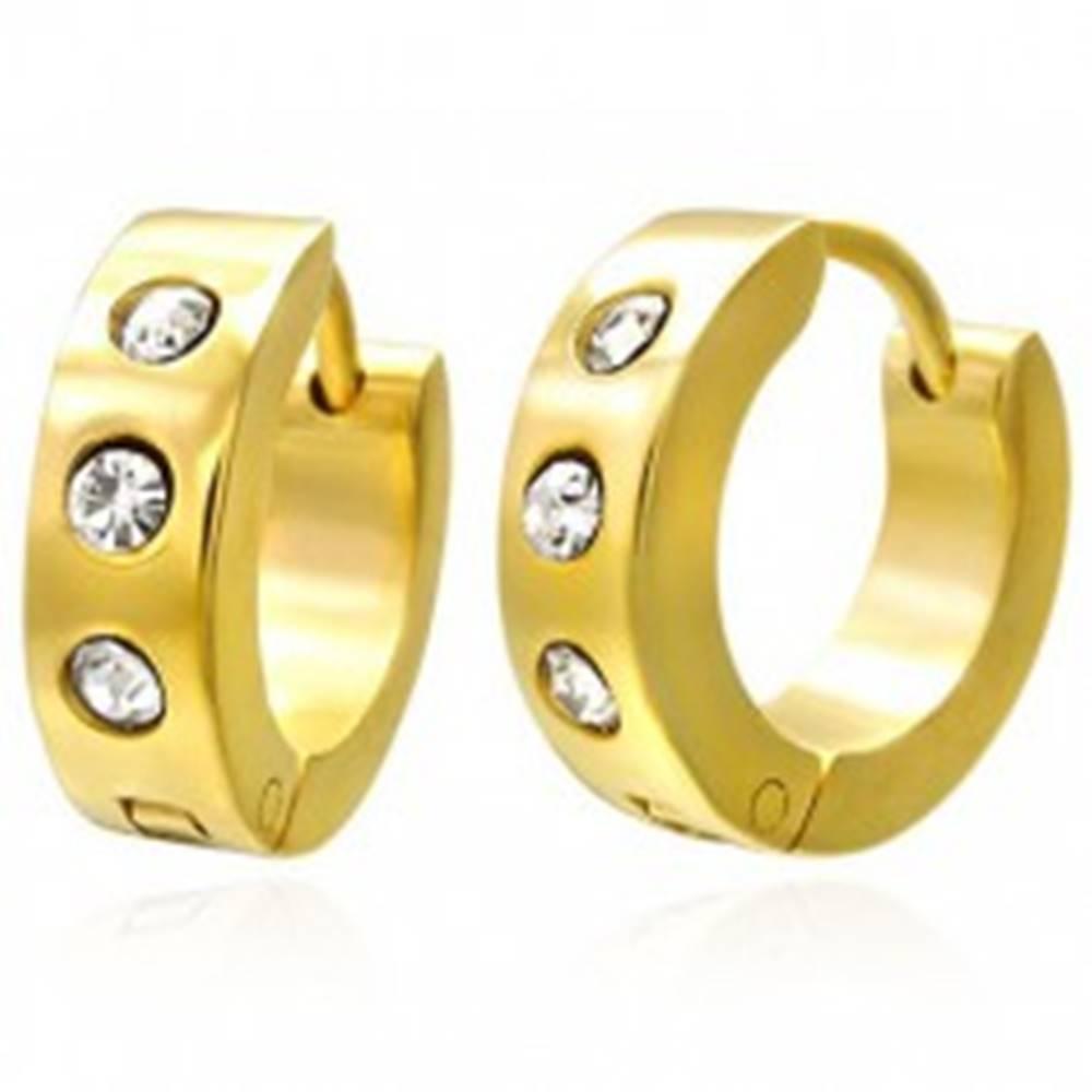 Šperky eshop Kĺbové náušnice z chirurgickej ocele, zlatý odtieň, číre zirkóny