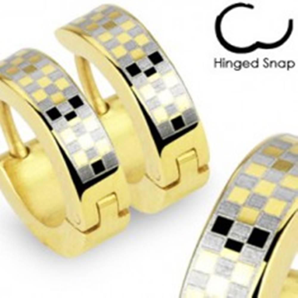Šperky eshop Kĺbové náušnice z ocele 316L, povrch zlatej farby, šachovnicový vzor
