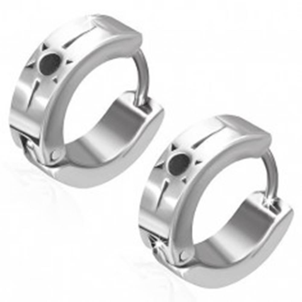 Šperky eshop Kĺbové náušnice z ocele 316L, strieborná farba, čierne slniečko, zárez