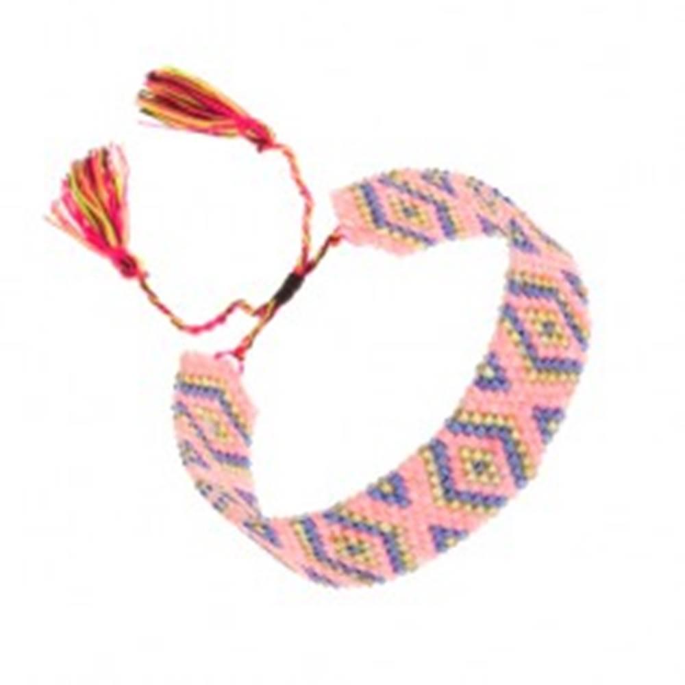Šperky eshop Ligotavý náramok, korálky, kosoštvorce, tmavomodrá, žltá, ružová farba